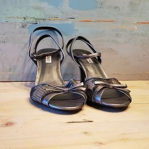 Alfani Leather Pewter peep toe buckle pump